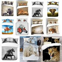 UK Made 3D Design Animal Print Photo Digital Duvet Quilt Cover With Pillowcases