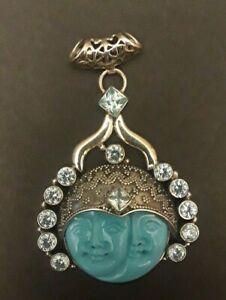 Large Obsidian Pendant Gold Druzy by Sajen Sterling Silver Vintage Jewelry