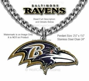 LARGE BALTIMORE RAVENS NECKLACE STAINLESS STEEL CHAIN NFL FOOTBALL - FREE SHIP'