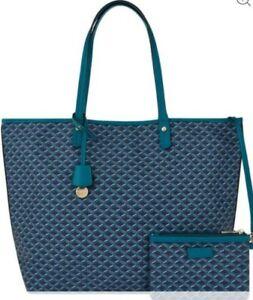 Monsoon Accessorize Geo Print Tote Bag Matching Coin Purse Bnwt Blue Green