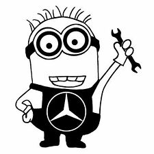 Mercedes minion car vinyl sticker decal cls gls amg s a b c funny gift humor