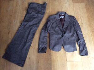 Sportmax Max Mara Women's Brown Wool Blend Blazer Trouser Suit Wide Leg UK14 L32