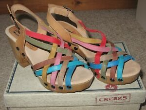 STUNNERS Creek Multi colour wooden wedge sandals Size 5 (38)