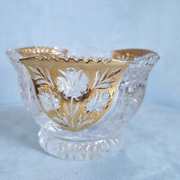 Vintage Anna Hutte Bleikristall German Crystal Candy Bowl Dish Flash Gold Panels