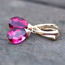 Rubellite Pink Tourmaline Earrings Rose Gold Vermeil , Lever Backs October