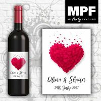 Personalised Wedding/Anniversary/Engagement Wine Bottle Label - Love Hearts