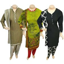 Pakistani Indian Printed Crepe Suit Dress Casual Stitched Salwar Kameez Shalwar