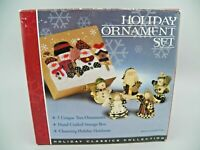 Holiday Ornament Set Hand Crafted Gift Box 5 Resin Christmas Tree Ornaments GUC
