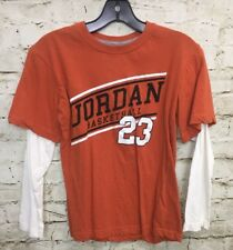 Michael Jordan T-Shirt L Orange Off White Long Sleeve Basketball 23 Youth Medium