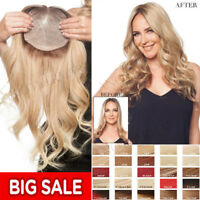 Clip in 100% Remy Human Hair Silk Top Topper Piece Hairpiece Wig Toupee US P117