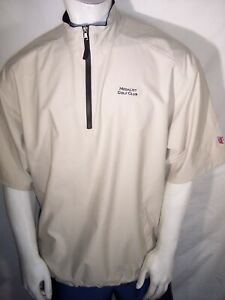 Greg Norman Large Beige 1/4 Zip Waterproof Rain Jacket Medalist Golf Club Logo