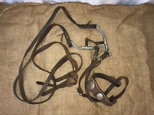 Vtg Leather Horse Bridle Reins Bit Silver Round Conchos English Western Tack Lot