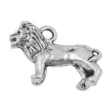 Packet 10 x Antique Silver Tibetan 23mm Lion Charm/Pendant ZX02955