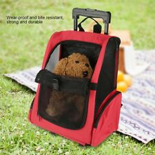 2-wheel Pet Trolley Carrier Stroller Travel Backpack Cage for Dog Cat Red