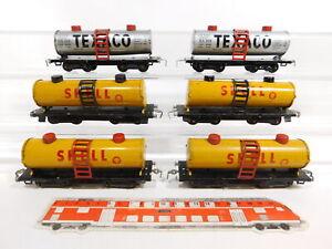 CG182-1 #6x HWN H0/Dc Blech-Kesselwagen/Freight Car: Shell + Texaco, 2. Choice
