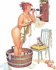 Print -  Duane Bryers' plump and pretty Pin-up Hilda - Bath Time Phone Call