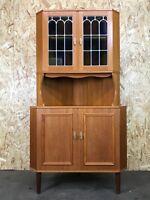 60er 70er Jahre Vitrine Eckvitrine Danish Modern Design Teak Corner Cabinet