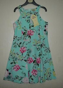 New Girls Matildas Wardrobe Green Floral Sleeveless Dress Ages 7, 8, 9, 10 years
