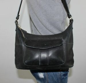 FOSSIL Small Faded Black Leather Shoulder Hobo Tote Satchel Purse Bag