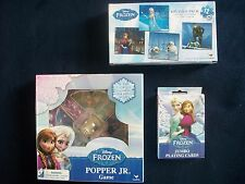 3 Games Disney Frozen Jumbo Playing Cards, 4 Puzzle Pack, Popper Jr, NEW Child