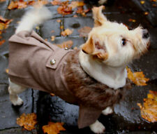 Dog coat jacket with faux fur collar, wool, stylish medium or 30cm NEW