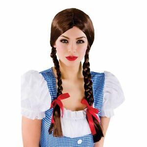 Adult Country School Girl Wig Dorothy Pigtail Plaited Fancy Dress Wig Book Week