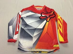 FOX RACING MOTOCROSS RED AND GRAY LITE MESH GEOMETRIC JERSEY YOUTH KIDS SMALL