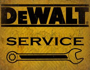 DEWALT TOOLS SERVICE RETRO METAL TIN SIGN POSTER WALL PLAQUE
