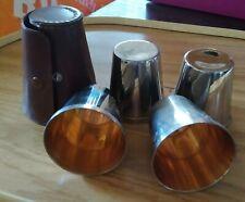 VINTAGE Set 4 Stirrup Cups In Leather Case, Gilt Interior. Unbranded Nice
