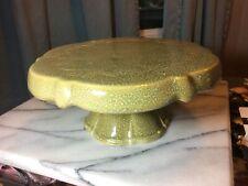 "Vintage Green Porcelain Pedestal Cake Pastry Plate 4"" Tall 9"" Top"