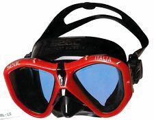"""Tauchmaske Taucherbrille 2-Glas """"ITALIA"""" rot-schwarz SEACSUB"""