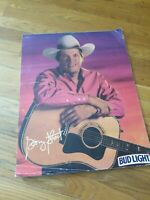 Vintage 1992 BUD LIGHT BUDWEISER Beer Poster GEORGE STRAIGHT 2 Sided lot of 22