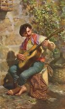 MALTA. The Guitar player (Dingli) 1927 old vintage print picture