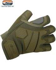 Coyote Alpha Tactical Military Fingerless Gloves Micro Fibre Palm Rubber Knuckle