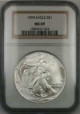 1994 American Silver Eagle $1 Coin ASE NGC MS-69 Gem Near Perfect