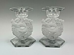 Pair Lalique Frosted Crystal Mesanges Candleholders Birds in Wreaths