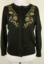 Ann Taylor LOFT Sweater S Black Gold Embroidery Cardigan Wool Blend #6603