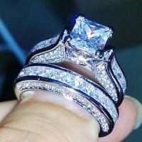 Certified 2.5Ct Princess Cut Diamond 14K White Gold Engagement/Wedding Ring Sets