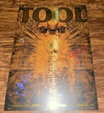 Tool Band Signed Poster Raleigh Tour Fear Inoculum 11/24/19 /650 Allen Williams