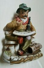 """Vintage Figurine Old Man On Bench With Clarinet Reading Music 8"""" High Used Good"""