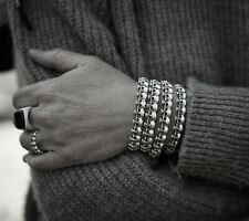 Solid 925 Sterling Silver Mens Skull Bangle Cuff Gothic Biker Style Bracelet