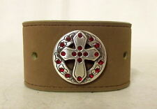 Silver Cross Boho Western Jewelry Leather Wrist Cuff Bracelet Red Rhinestone