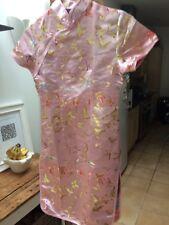 Baby rosa in raso abito stile cinese taglia 12