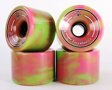76mm 78a Gel Soft Longboard Wheels (Logo Pink/Green Blend)