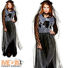 Zombie Widow Bride Ladies Fancy Dress Halloween Womens Adults Costume Outfit New