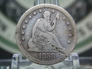 """1858 """"S"""" Seated Liberty Silver Quarter 25c #1 East Coast Coin & Collectables Inc"""