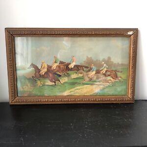 Antique Print Steeple Chase Ben Herring Horse Racing Framed Glazed