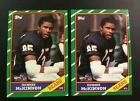 1986 Topps # 14 DENNIS MCKINNON ROOKIE RC Lot 2 Chicago Bears Nice LOOK !