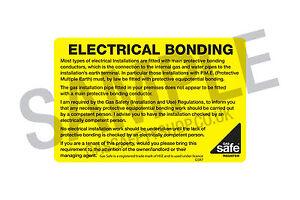 Gas Safe Electrical Bonding Labels