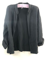 Eileen Fisher Cardigan Medium M Open Front Black Crinkle Rolled Sleeve